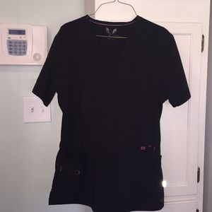 'Smitten' black scrub top - Size Large